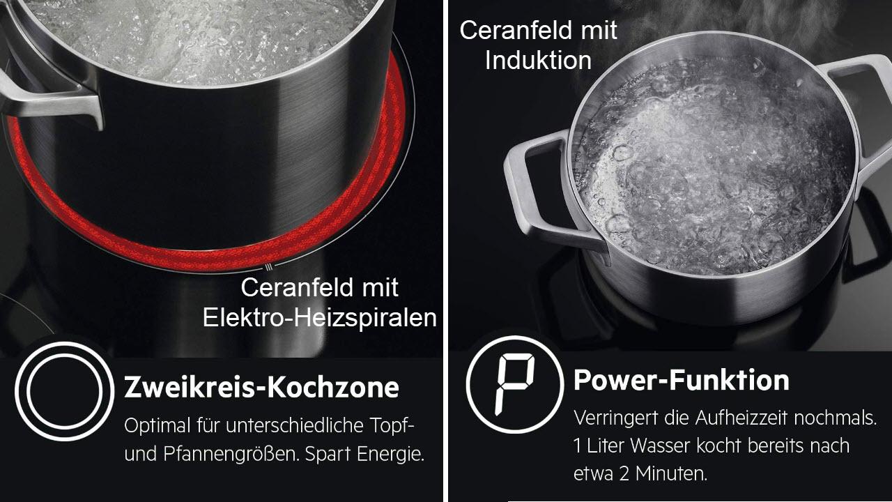 AEG HK634060XB Autarkes Ceran Glaskeramik-Kochfeld & IKB6431AXB Autarkes Induktionskochfeld