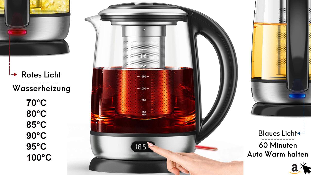 AICOOK Wasserkocher-Teemaschine, 1,7 l Glas-Teekanne mit Temperatureinstellung, LED-Digitalanzeige echtzeit Temperatur