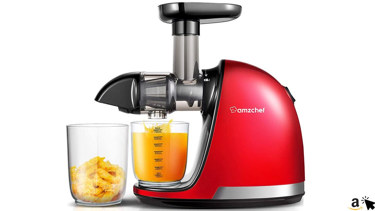 AMZCHEF Slow Juicer BPA-frei Entsafter Gemüse Obst Profi Entsafter mit leisem Motor & Umkehrfunktion & Saftkanne & Reinigungsbürste