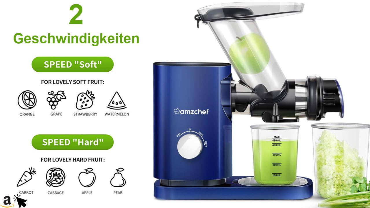 AMZCHEF Slow Juicer Leiser Langsam-Entsafter für Gemuese & Obst, 75mm große Öffnung, 2 Geschwindigkeiten