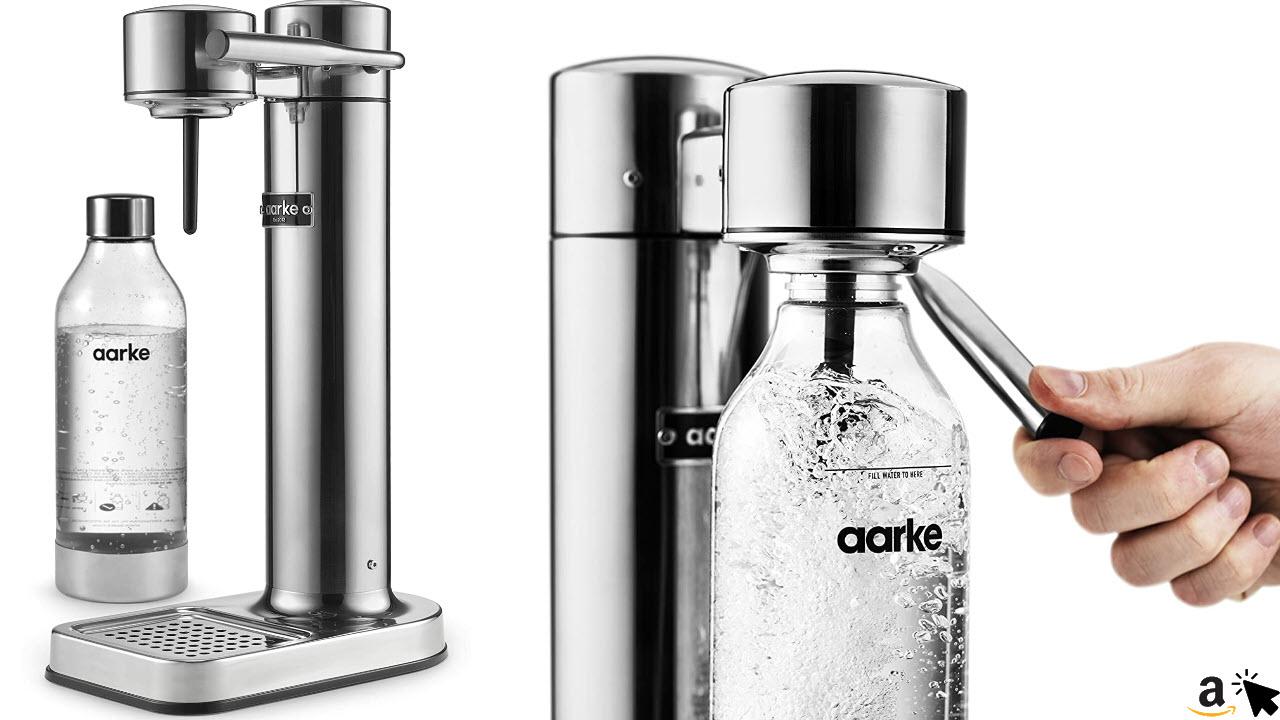 Aarke Carbonator II Wassersprudler Edelstahl Gehäuse, Soda Sprudelwasser, inkl. BPA-freie PET-Flasche , kompatibel mit CO2 Sodastream Zylindern