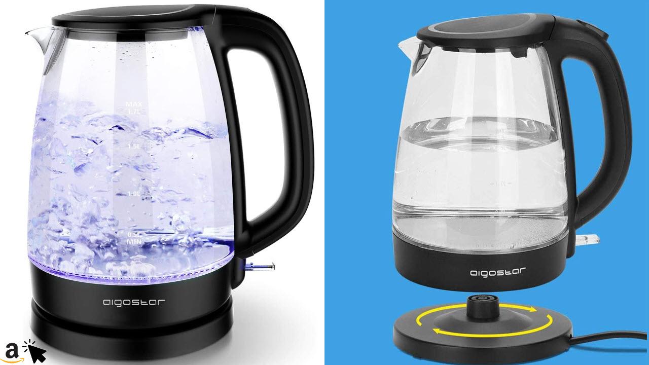 Aigostar Adam Borosilikatglas Wasserkocher mit LED-Beleuchtung, 2200 Watt, 1,7 Liter, Edelstahl 360°-Sockel, Abschaltautomatik, Trockenlaufschutz, Kalkfilter, BPA frei