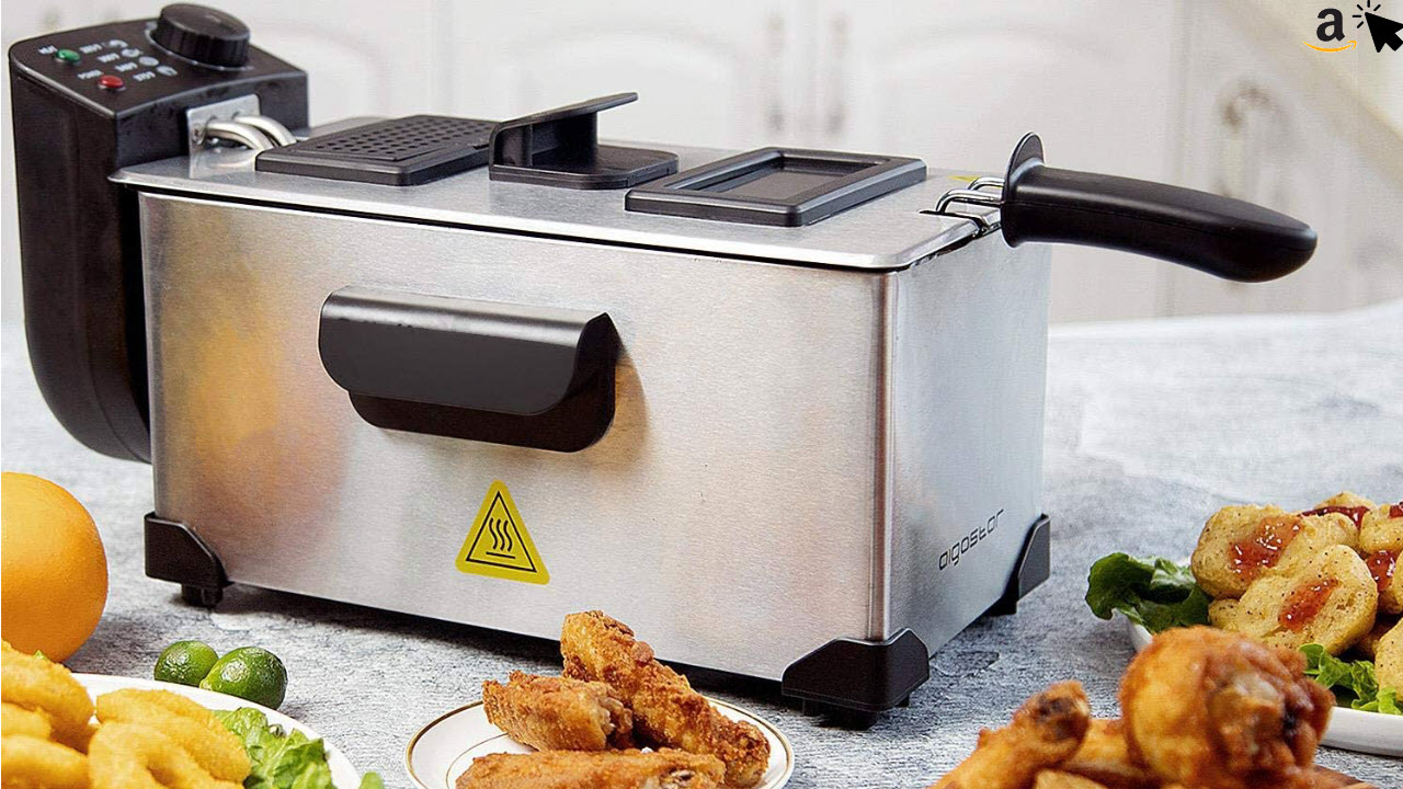 Aigostar Ushas 30HEZ - Semi-professionelle Fritteuse, Edelstahl, 2200 Watt, 3 Liter