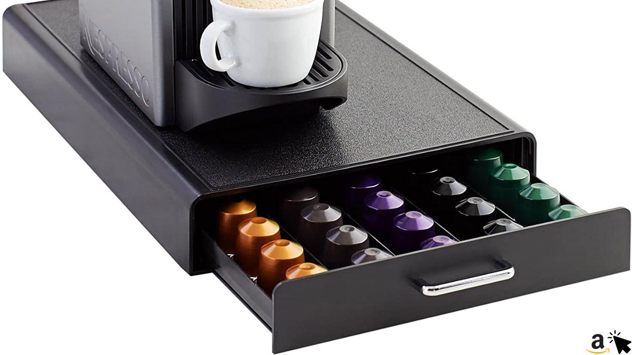 Amazon Basics Schubladenbox zur Aufbewahrung von 50 Nespresso-Kaffeekapseln, Kapselhalter