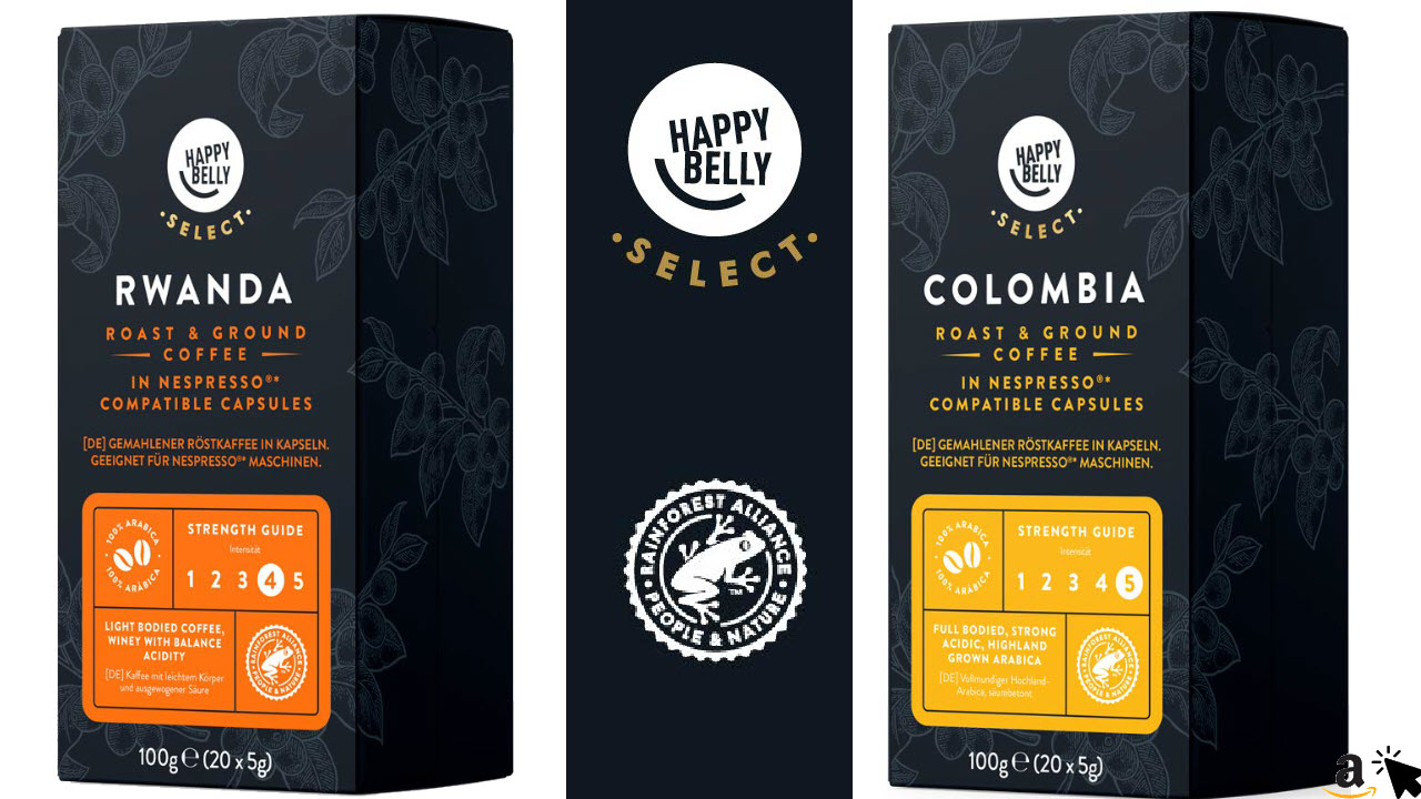 Amazon Happy Belly Select Röstkaffee in Kapseln für Nespresso Maschinen geeignet, Kaffeebohnen aus Kolumbien oder Ruanda wählbar