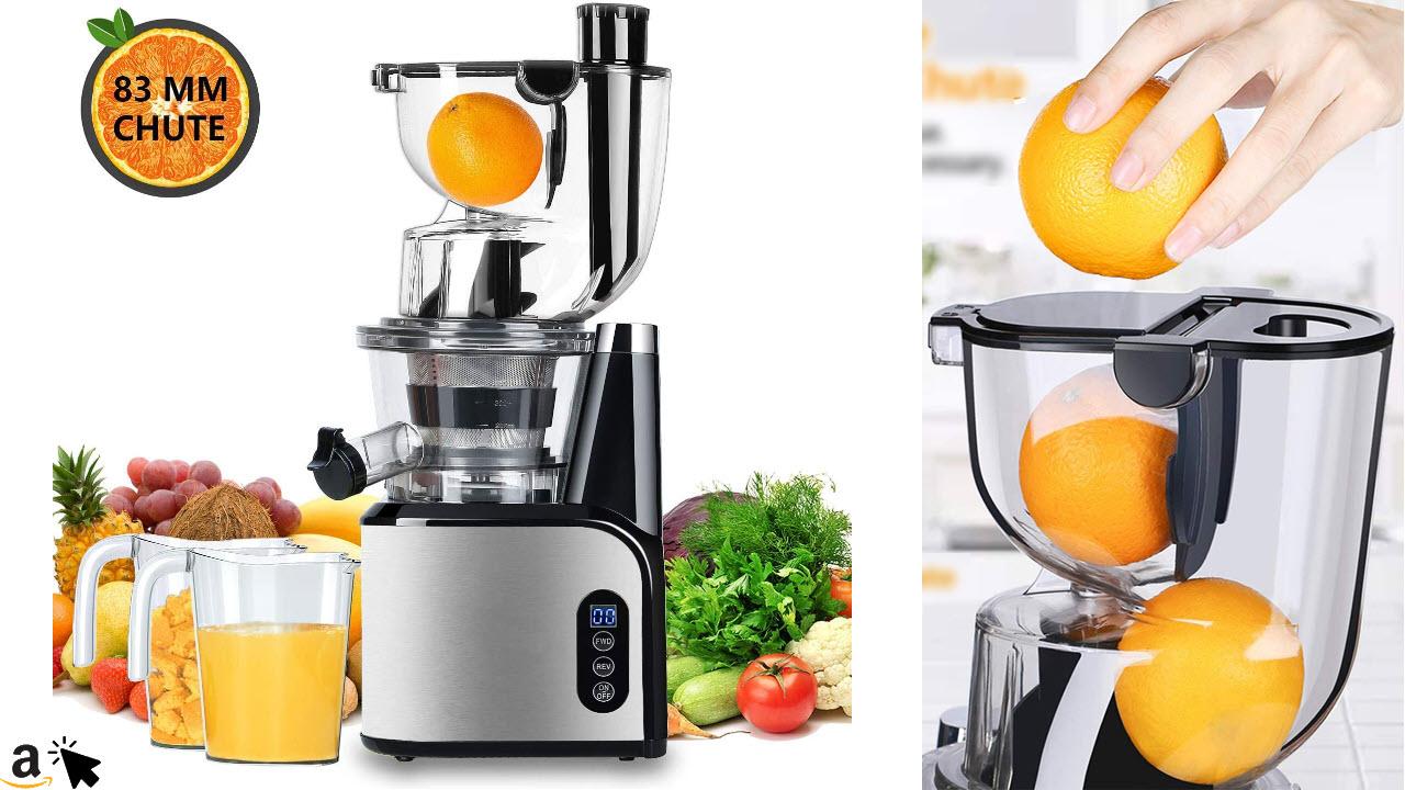 Aobosi Entsafter Slow Juicer 80mm große Öffnung Entsafter Edelstahl Profi Entsafter Ruhiger Motor Hoher Nährstoff Frucht & Gemüsesaft