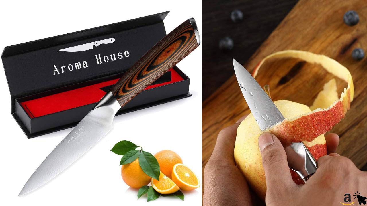 Aroma House Gemüsemesser Obstmesser Küchenmesser Klein 10cm Schälmesser Sehr Scharfe Geschmiedete Klinge Ergonomischer Griff