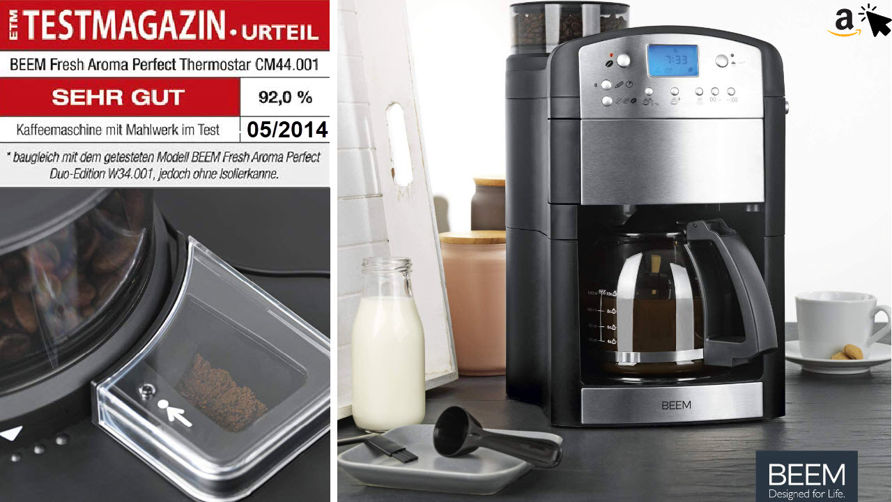BEEM FRESH-AROMA-PERFECT Filterkaffeemaschine mit Mahlwerk, 24h-Timer & Glaskanne