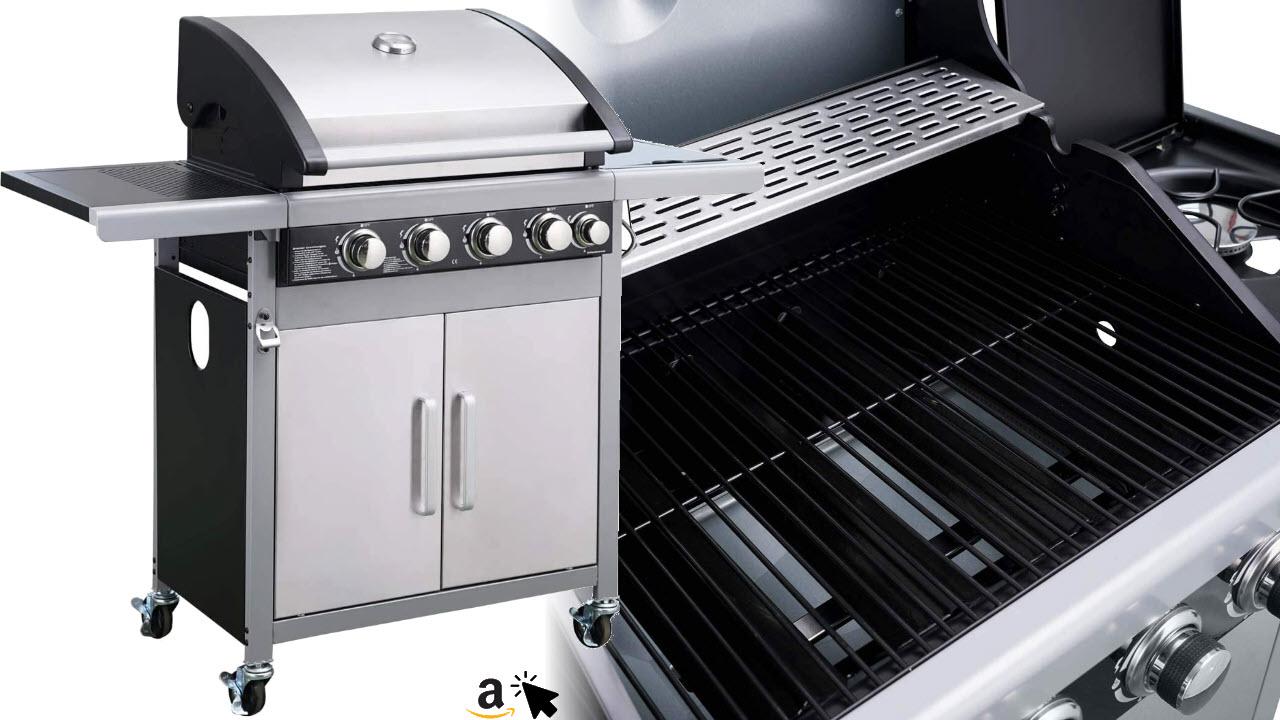 BRAST Gasgrill Edelstahl Barbecue Grill Grillwagen BBQ Brenner Seitenkocher 6in1
