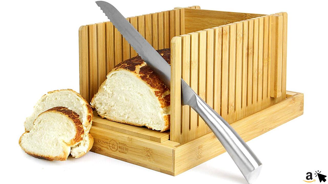 Bambus Brotschneidemaschine, Schneidebrett & Messer Schnittführung, Verstellbar, faltbar, kompakt