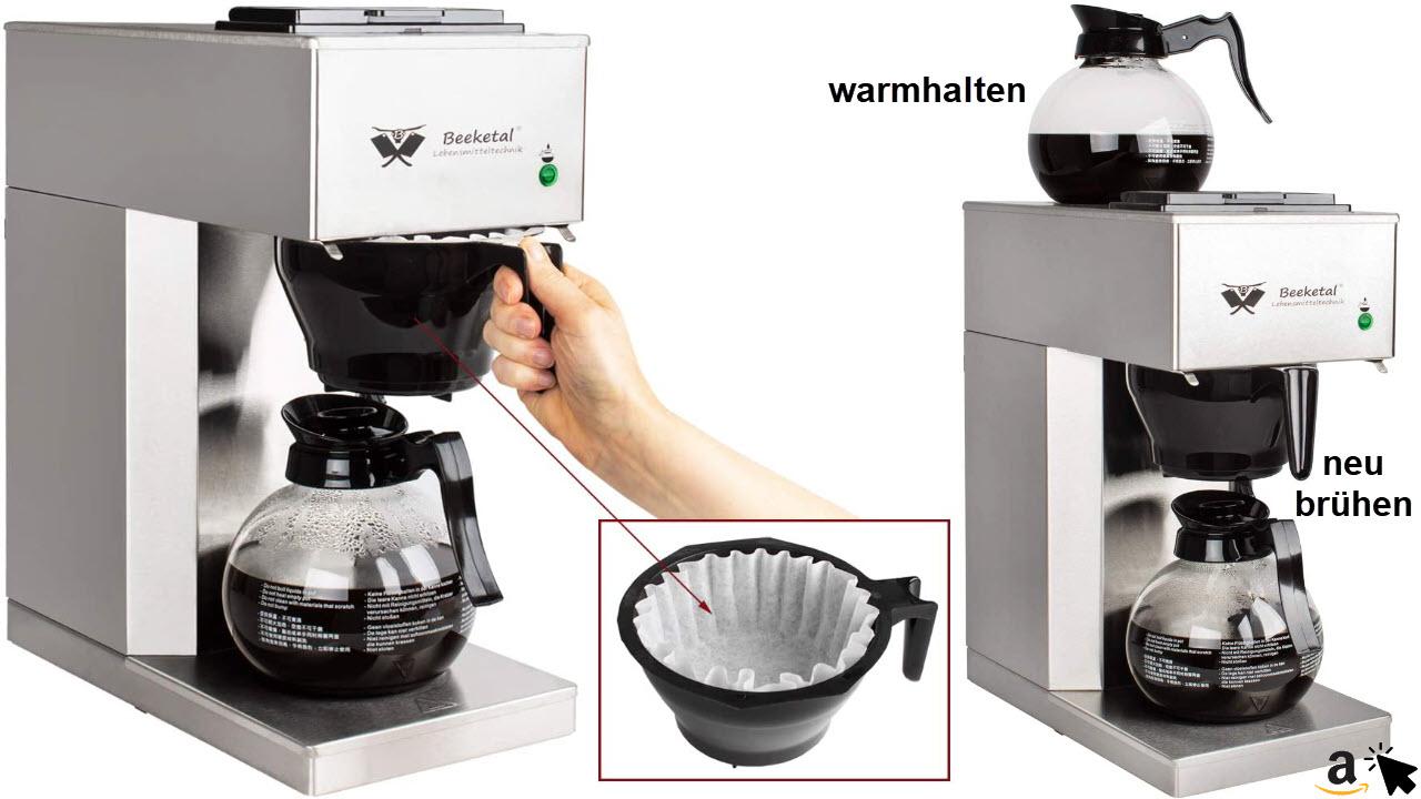 Beeketal BGK2-GK Gastro Edelstahl Filterkaffeemaschine für Büro mit 2 Glaskannen mit je 1,5 Liter und Warmhalteplatte, Korbfilter Kaffeemaschine mit 2 Heizsystemen für Brühen & Warmhalten