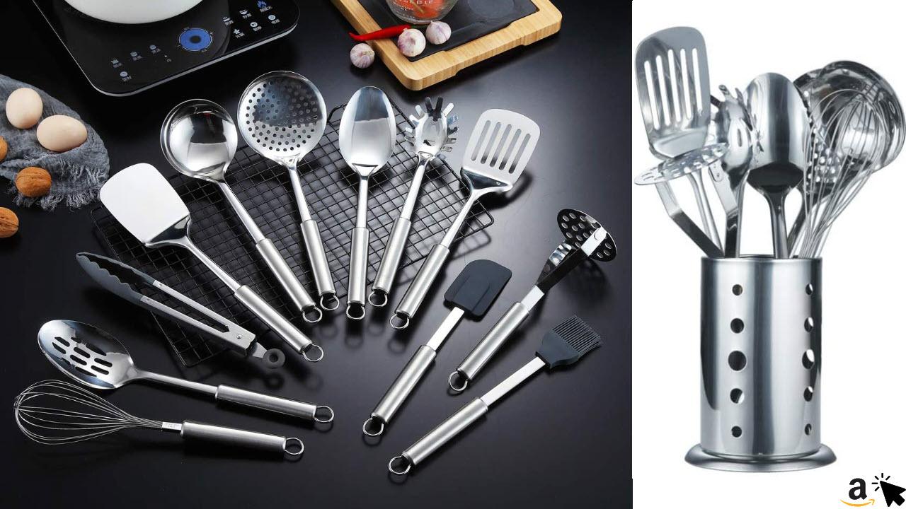 Berglander Edelstahl Küchengerät 12 Stück mit 1 Ständer, Kochlöffel, Küchenutensilien Kochgerät mit Halter