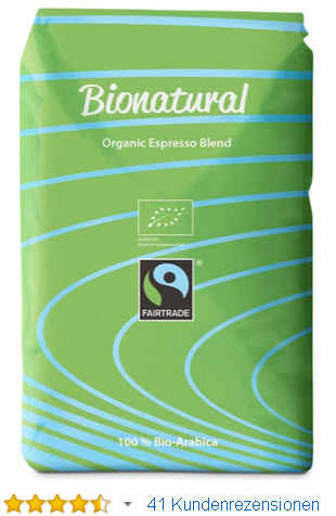 Bionatural Bio Fairtrade Kaffee-Espresso ganze Bohne