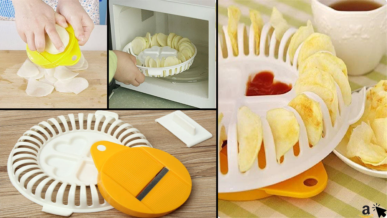 Bluelover Mikrowelle Chipsmaker für Kartoffeln, Äpfel, Gemüse, Crisp Chips Gemüsehobel und Mikrowellengestell