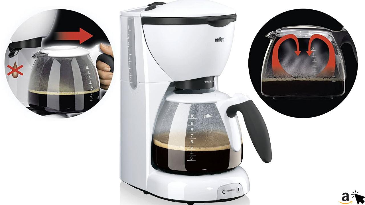 Braun KF5201 Filterkaffeemaschine Weiß mit Wasserfilter und Warmhaltefunktion