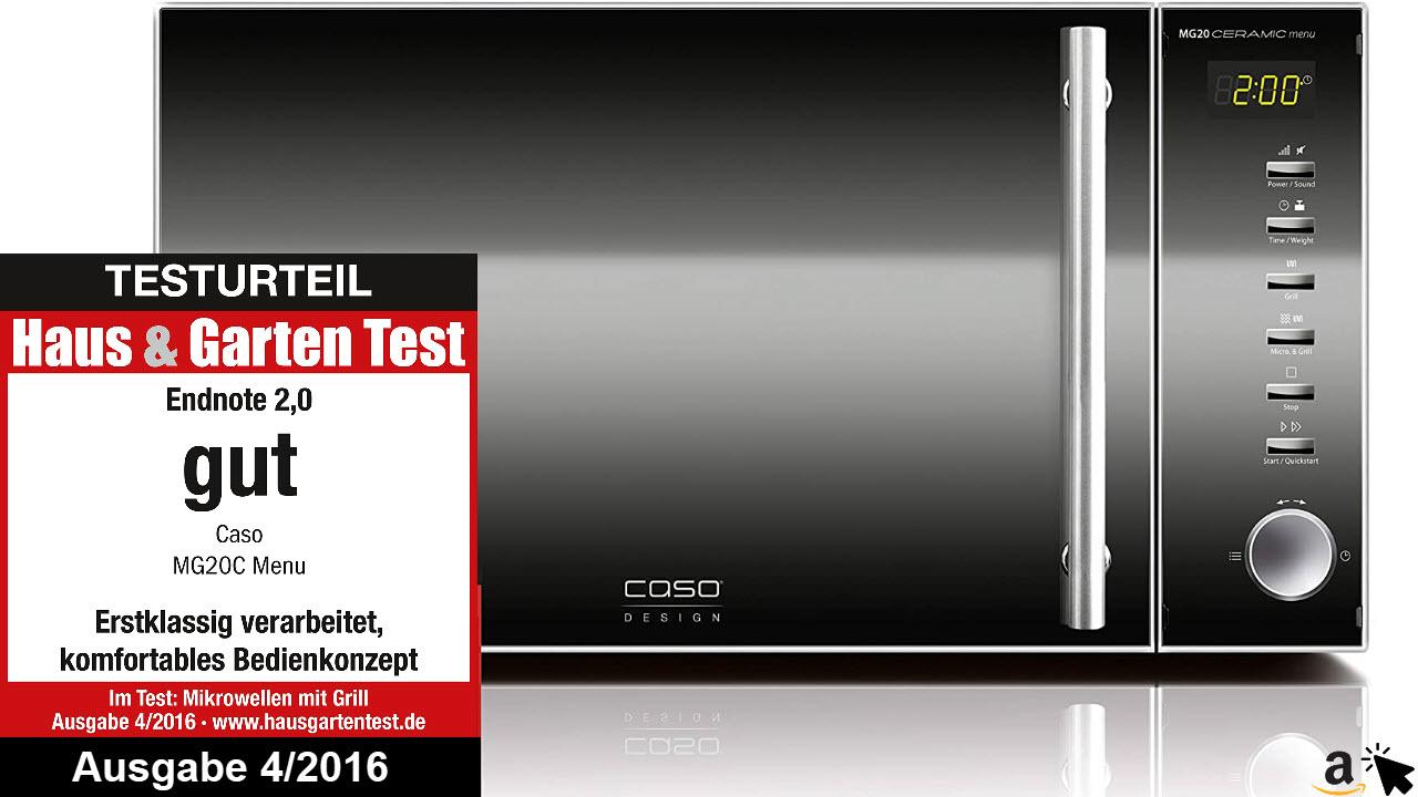 CASO MG20 Ceramic menu 2-in-1 Mikrowelle mit Grill, Keramikboden und Grill-Rost für 2 Ebenen, 900 W, 1000 W Grill, 20 L, Edelstahl, verspiegelt