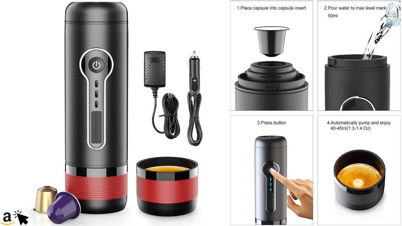 CONQUECO Tragbare Espressomaschine für Unterwegs, Elektrische Akku 12V Reise Kaffeemaschine für Unterwegs im Auto, Kompatibel mit Nespresso und L'OR Kapseln,15 Bar Druck