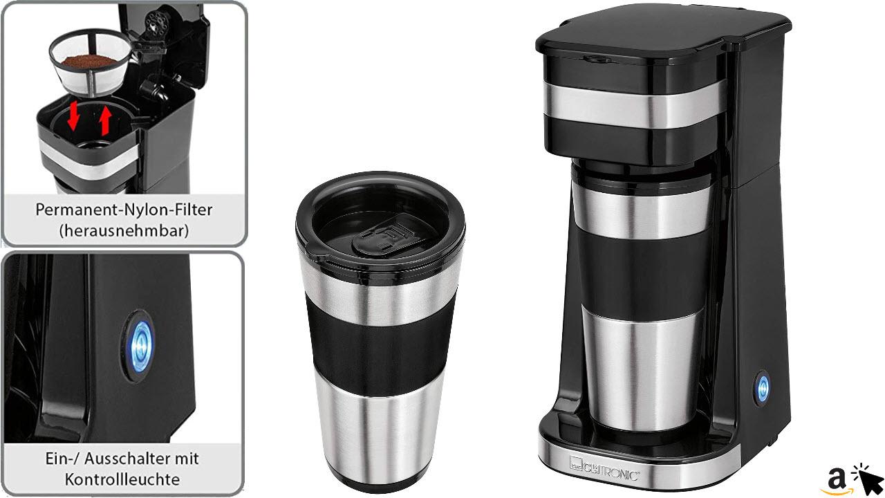 Clatronic 1-Tassen-Filter-Kaffeeautomat KA 3733, inkl. doppelwandigem Thermo-Edelstahlbecher