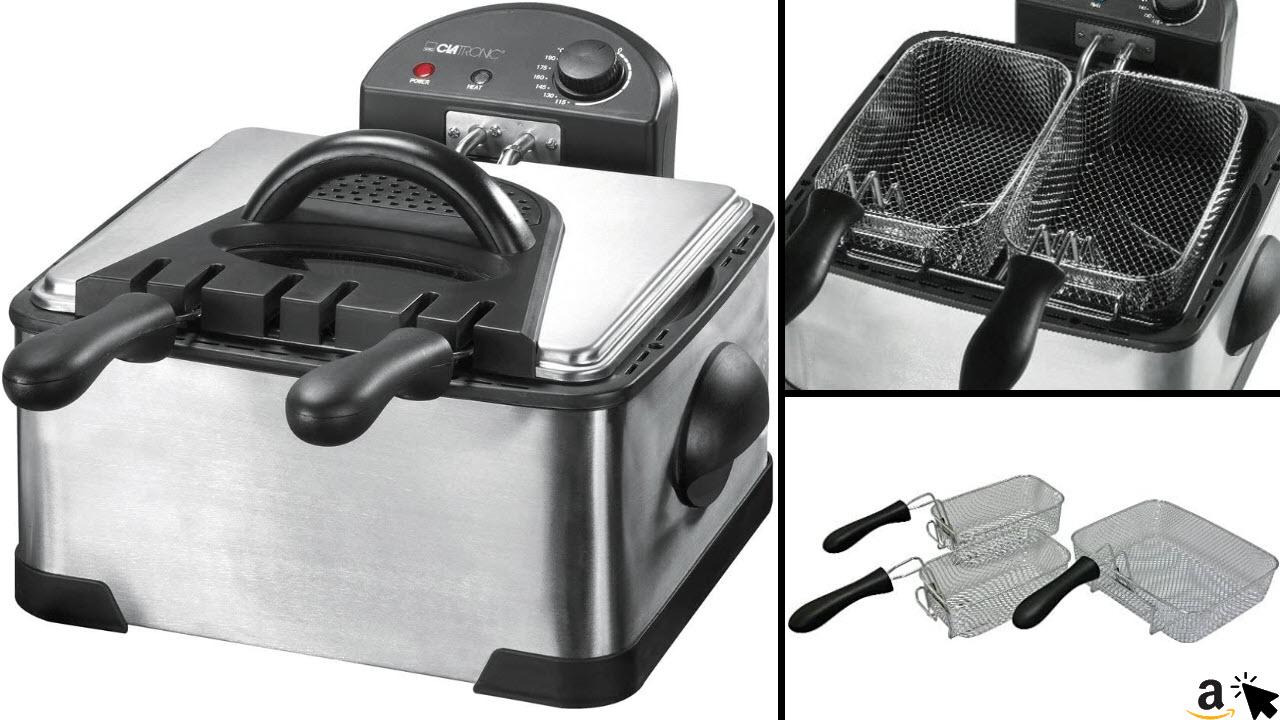 Clatronic FR 3195 Doppel-Kaltzonen-Fritteuse mit 2 kleinen Frittierkörben und einem Großen, 4 Liter, 2000 Watt, inox
