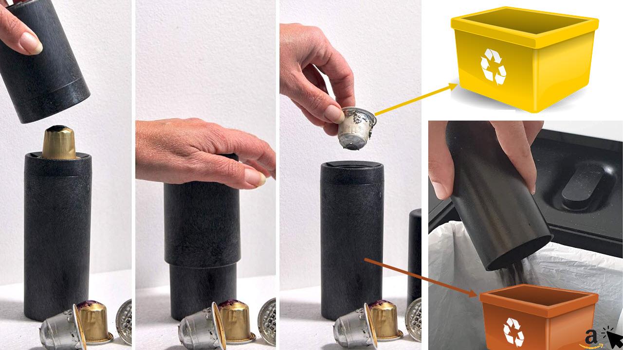 Coffee-Out ist ein Haushaltswerkzeug zum Entleeren und Recycling von Nespresso-kompatiblen Aluminium-Kaffeekapseln