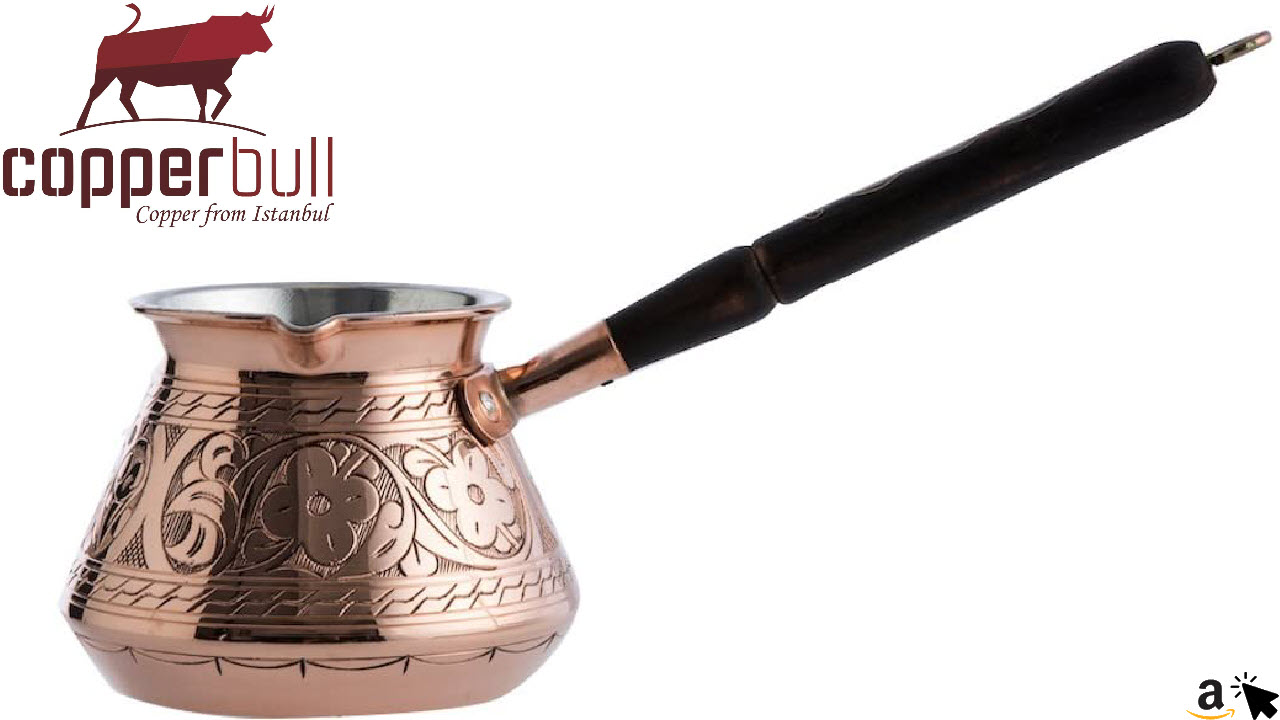 CopperBull handgefertigte gravierte 2mm dicke Kupfer Mokka-Kaffeekanne 425 ml mit Holzgriff