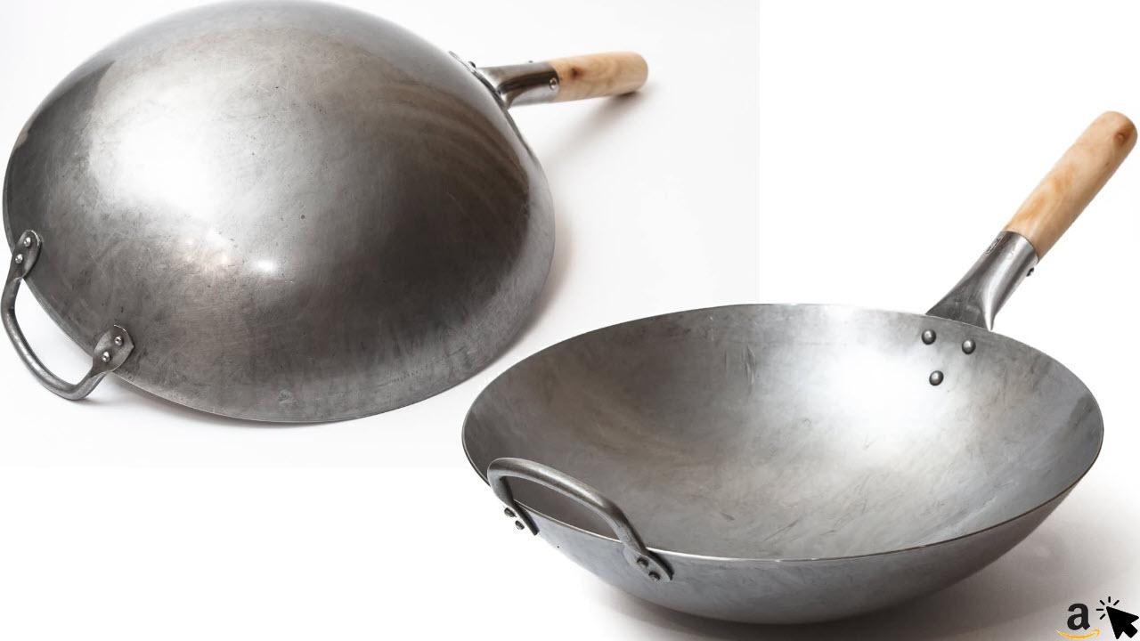 Craft Wok Traditioneller handgehämmerter Wok aus Karbonstahl mit Griff aus Holz