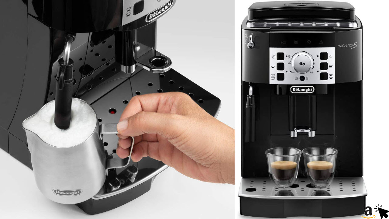 DeLonghi Magnifica Kaffeevollautomat mit Mahlwerk & Milchaufschäumdüse für Cappuccino, Direktwahltasten für Espresso und Kaffee, 2-Tassen-Funktion