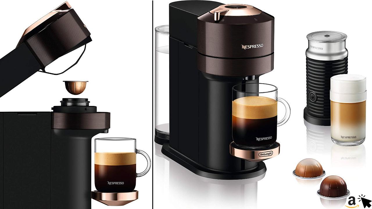 De'Longhi Nespresso Vertuo Next Premium ENV 120BWAE Kaffeekapselmaschine mit Aeroccino Milchaufschäumer