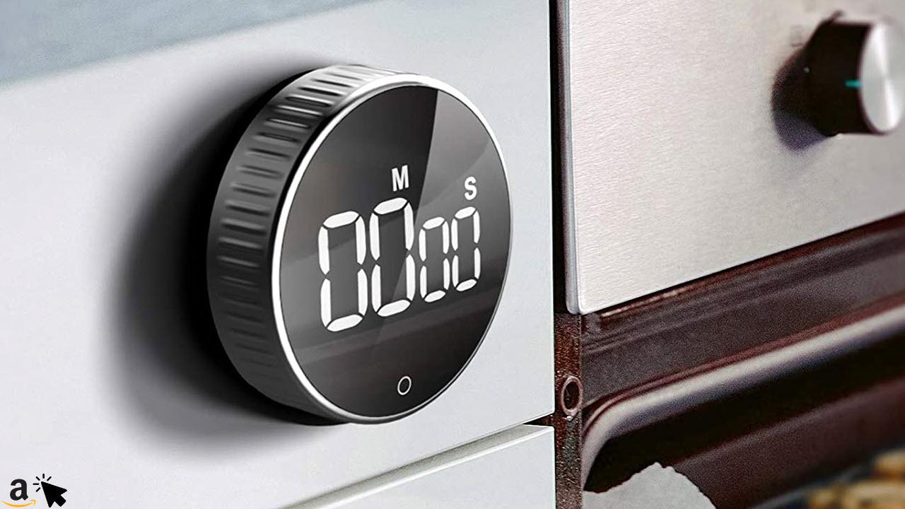 Digitaler Küchentimer mit Magnethalterung, HOMMINI Küchenwecker Kurzzeitwecker Magnetisch LCD-Bildschirm, Kurzzeitmesser Eieruhr, Ideal Küchenuhr Timer zum Kochen, Backen