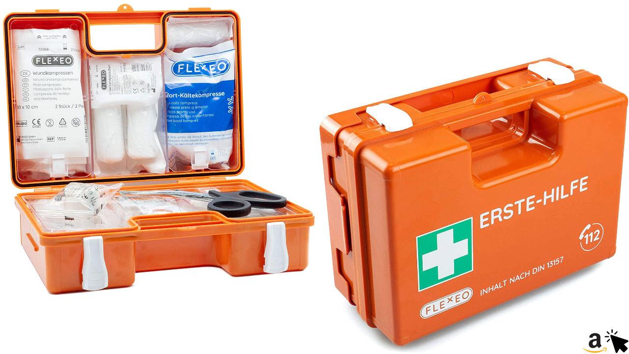 Erste-Hilfe-Koffer für Betriebe mit Inhalt nach DIN 13157 in orange, Verbandkasten gefüllt
