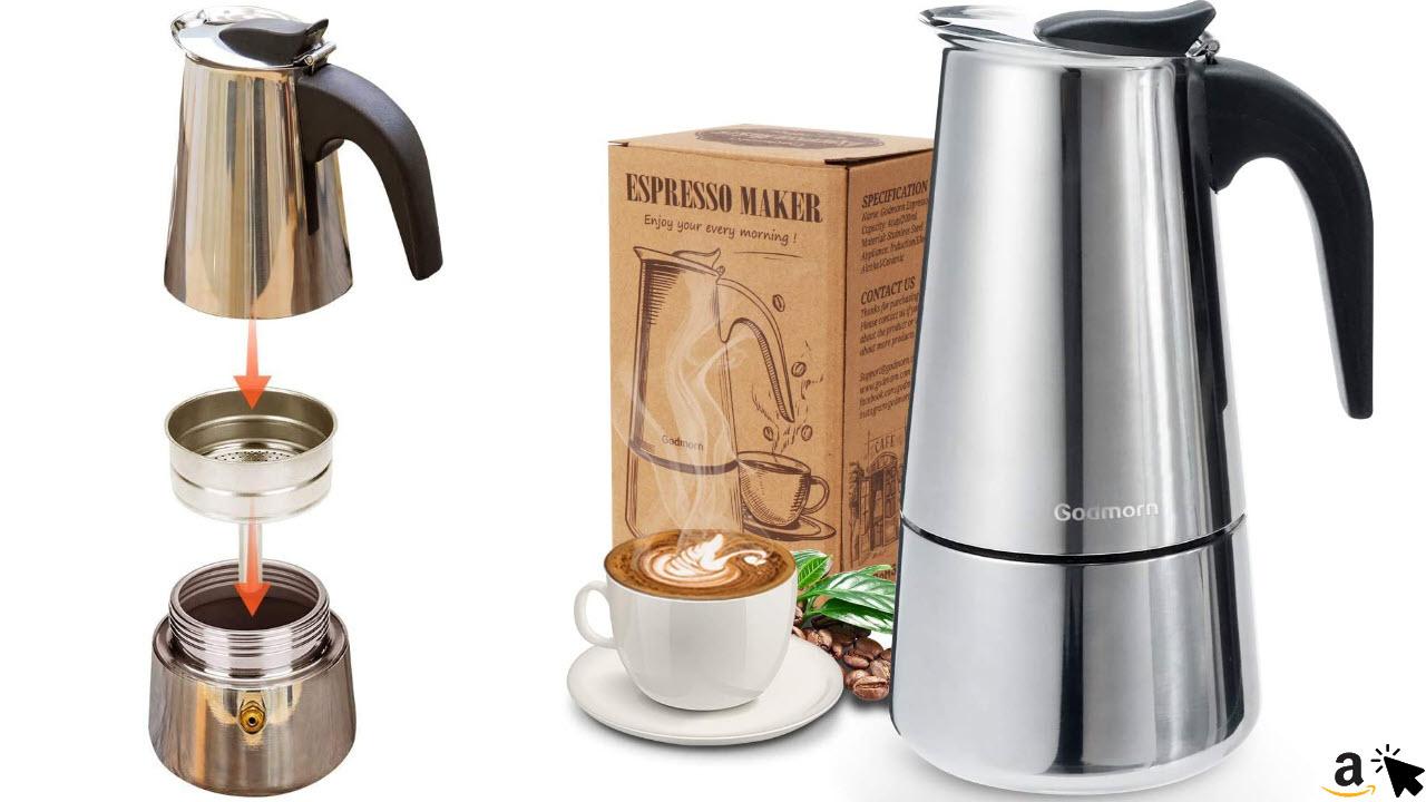 Espressokocher für Induktion Herde geeignet aus 430 Edelstahl, Espresso Maker für 6 Tassen, 300 ml