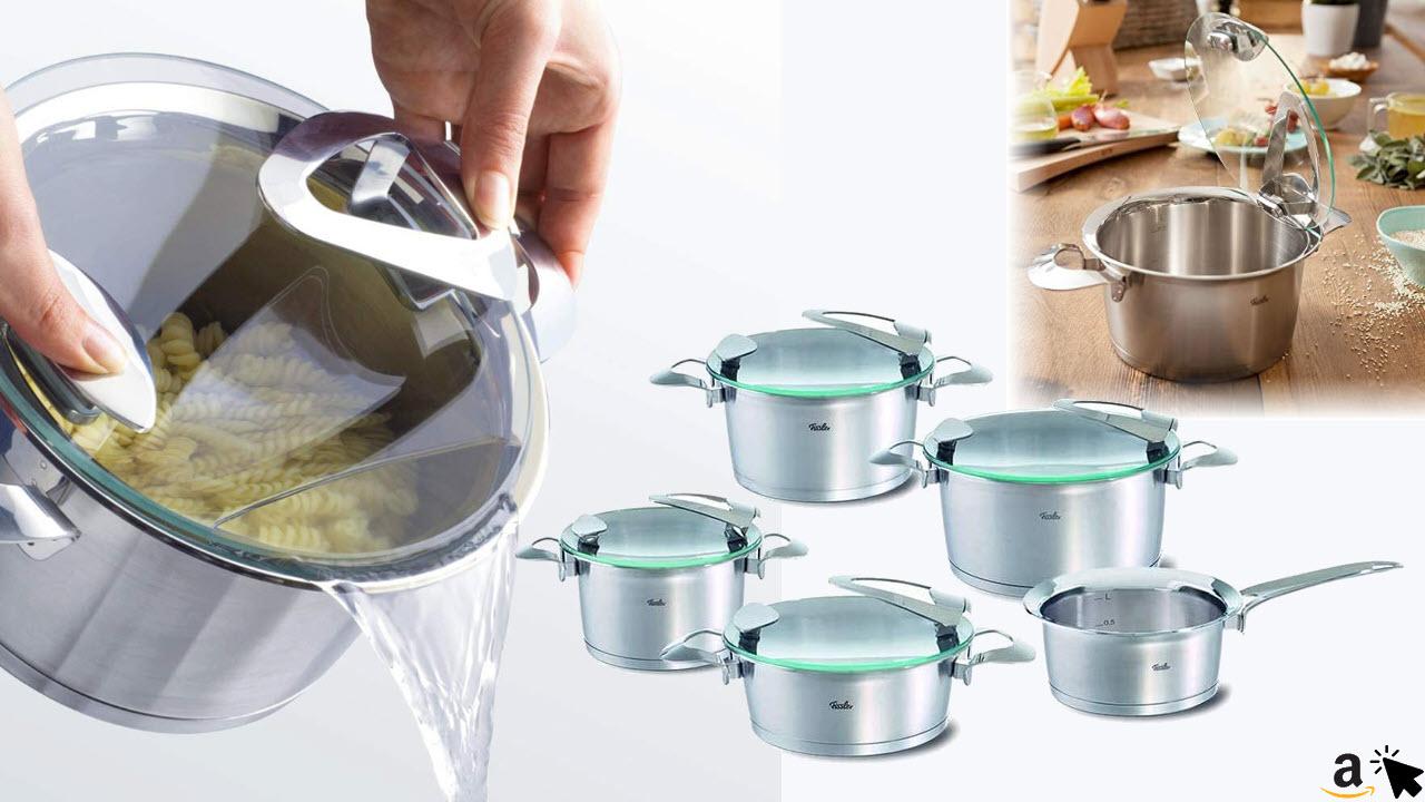 Fissler solea Edelstahl-Topfset, 5-teilig, Induktions-Kochtopfset, Töpfe mit Glasdeckel, stapelbar, alle Herdarten auch Induktion