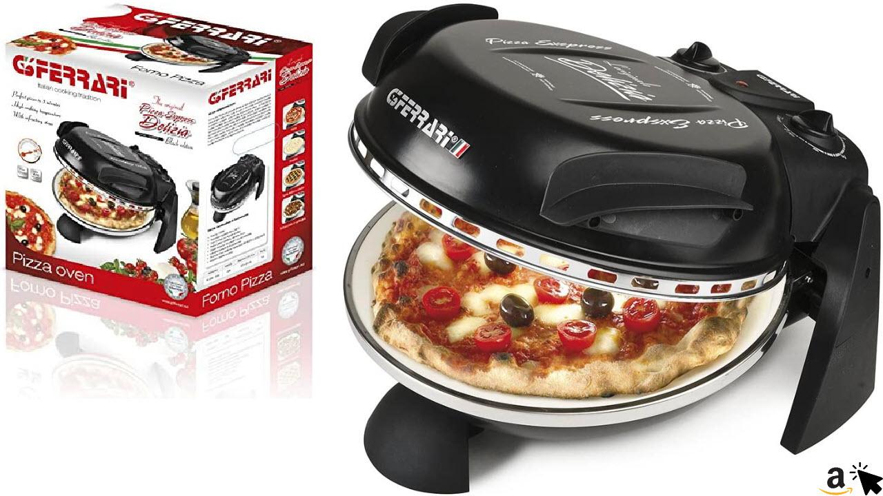 G3Ferrari G10006 Delizia Elektrische Pizzaofen für Zuhause, Stein, Schwarz