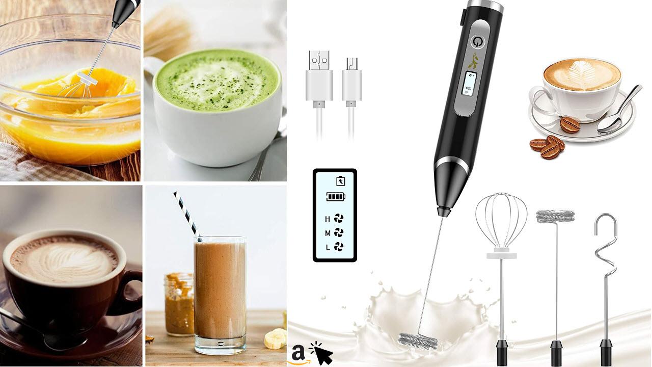 GRDE Stab Milchaufschäumer, Elektrischer Akku Milchschäumer LCD Bildschirm 3-Gang USB Aufladbar, Eiermixer Aufschäumer