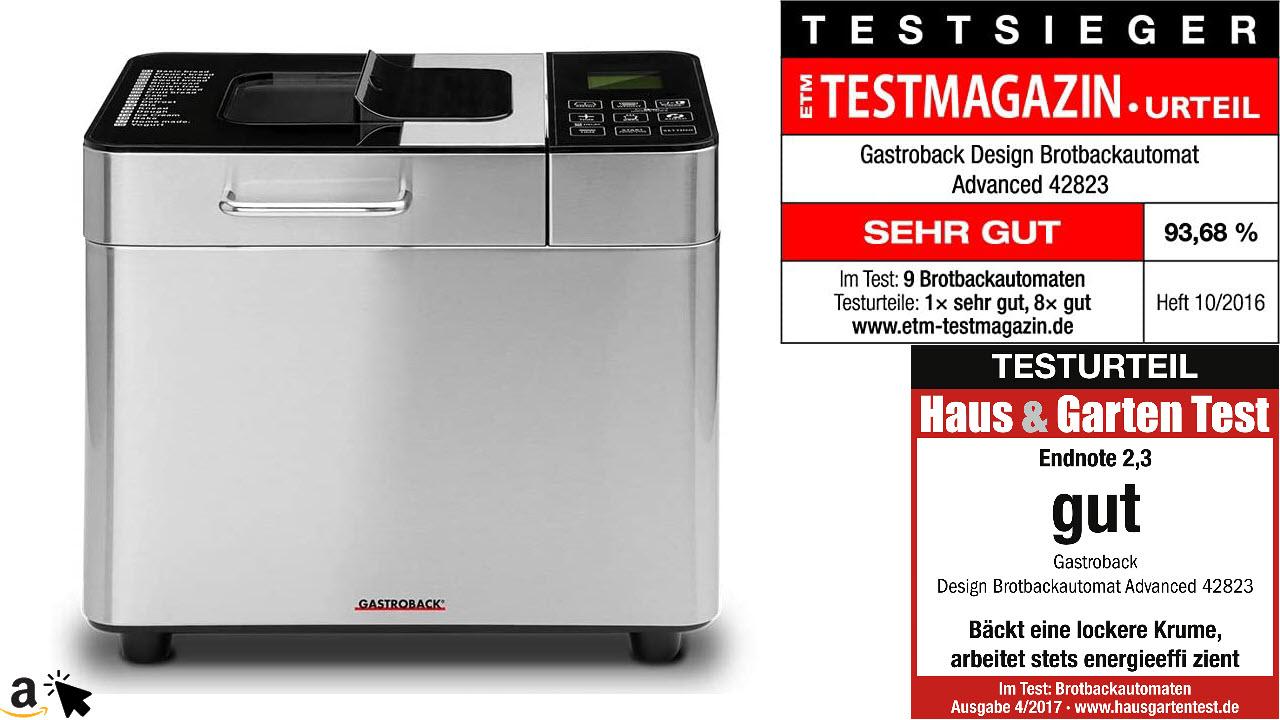 Gastroback 42823 Design Brotbackautomat Advanced, Edelstahl Brotbackmaschine 18 Programme, automatisches Zutatenfach