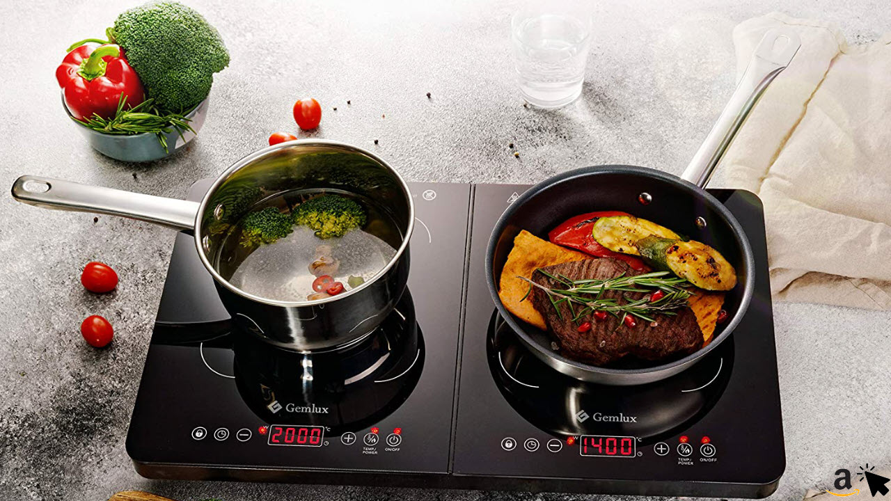 Gemlux Doppel Induktionskochplatte 3400W, Energiesparend, Glaskeramik, Touch Sensoren, 60-240°C, Timer 180 Min