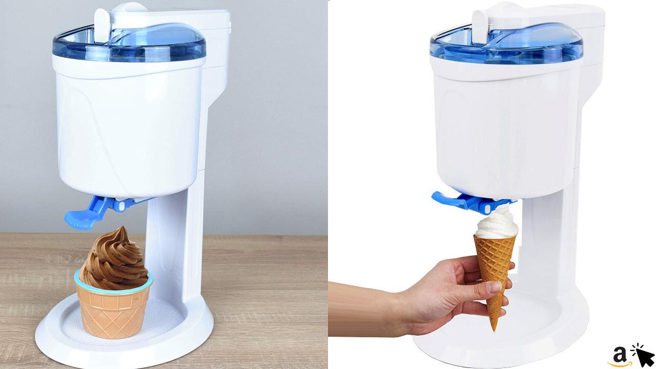 Gino Gelati GG-45W-Blue Rico 4in1 Softeismaschine für Zuhause, Eismaschine, Frozen Yogurt-Milchshake Maschine