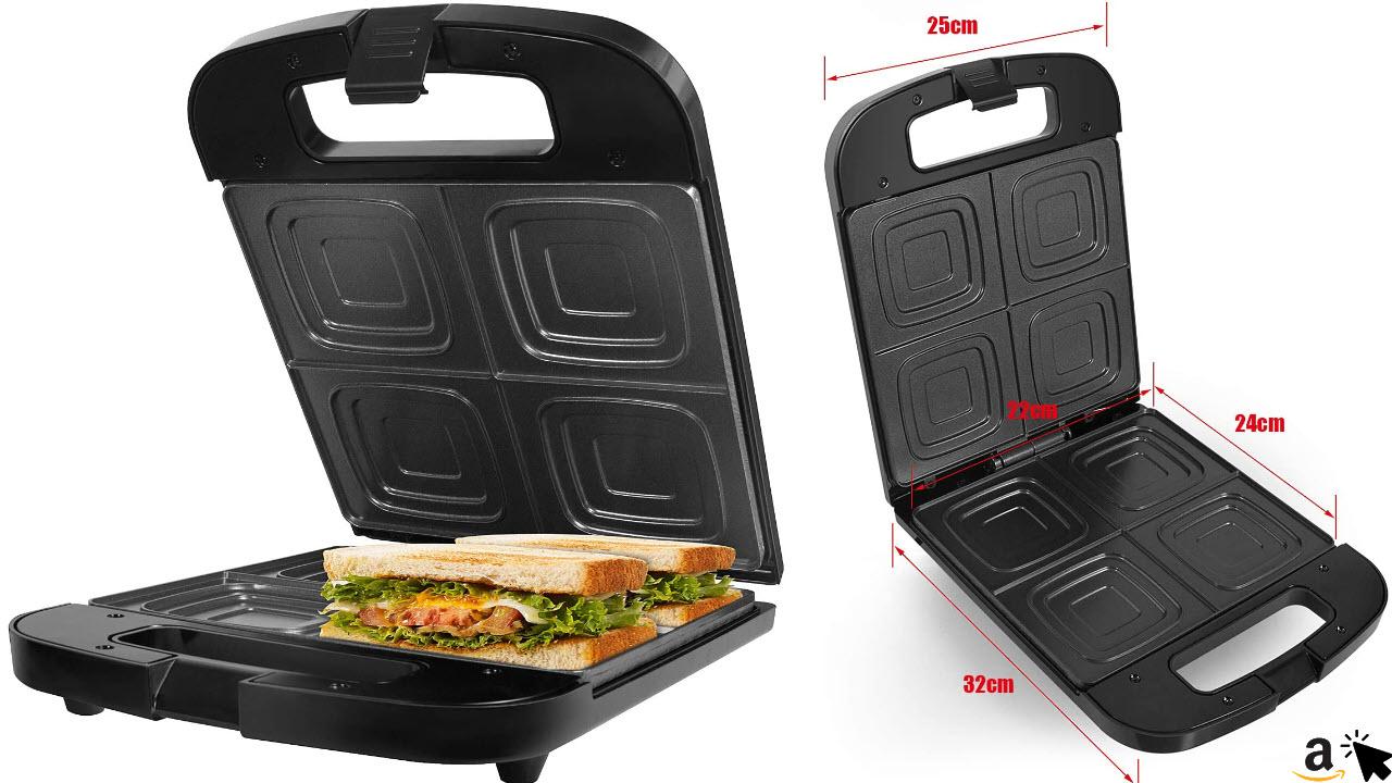 Gotoll Sandwichtoaster 4er XXL, Familien Sandwich Maker mit Antihaftbeschichtung, für 4 große Toastscheiben, Panini Maker, wärmeisolierter Handgriff, 1400W