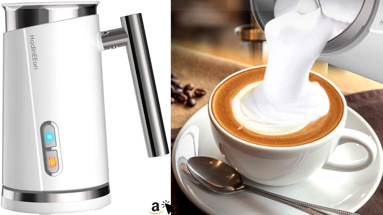 HadinEEon Milchaufschäumer 300ml 500w elektrisch, Edelstahl, Erhitzen und Aufschäumen für heiße und kalte Milch