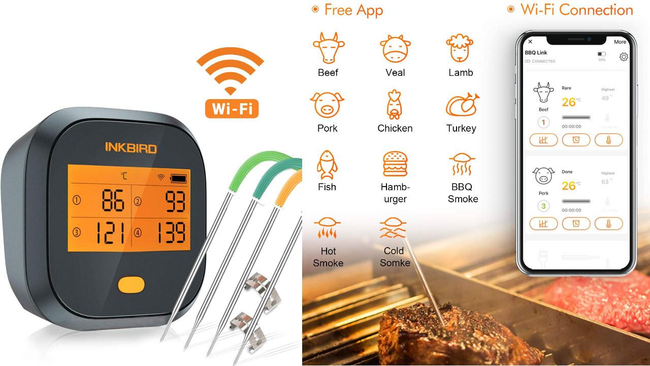 Inkbird IBBQ-4T WLAN Grillthermometer Wasserdichtes, WiFi Fleischthermometer mit 4 Temperaturfühlern