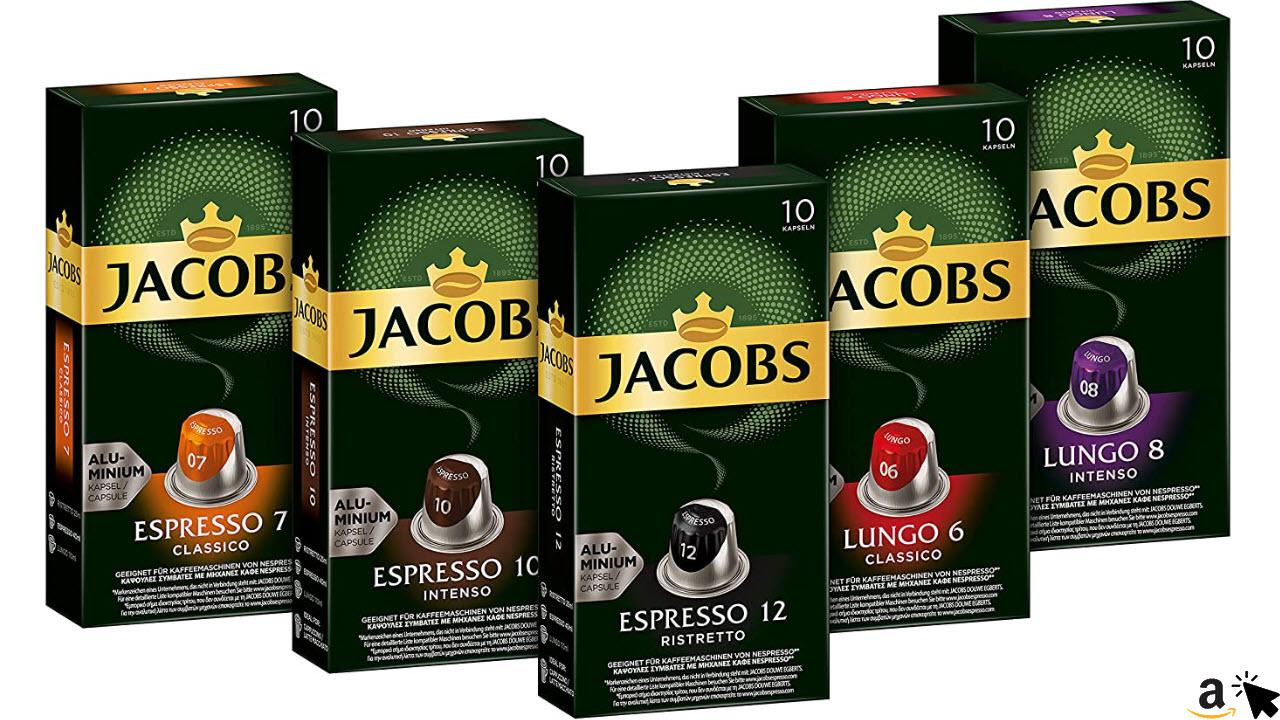 Jacobs Kaffeekapseln, Probierbox Nespresso kompatible Kapseln mit 5 verschiedenen Sorten