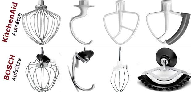 Küchenmaschinen Aufsatz Rührer Vergleich Kitchenaid oben Bosch unten