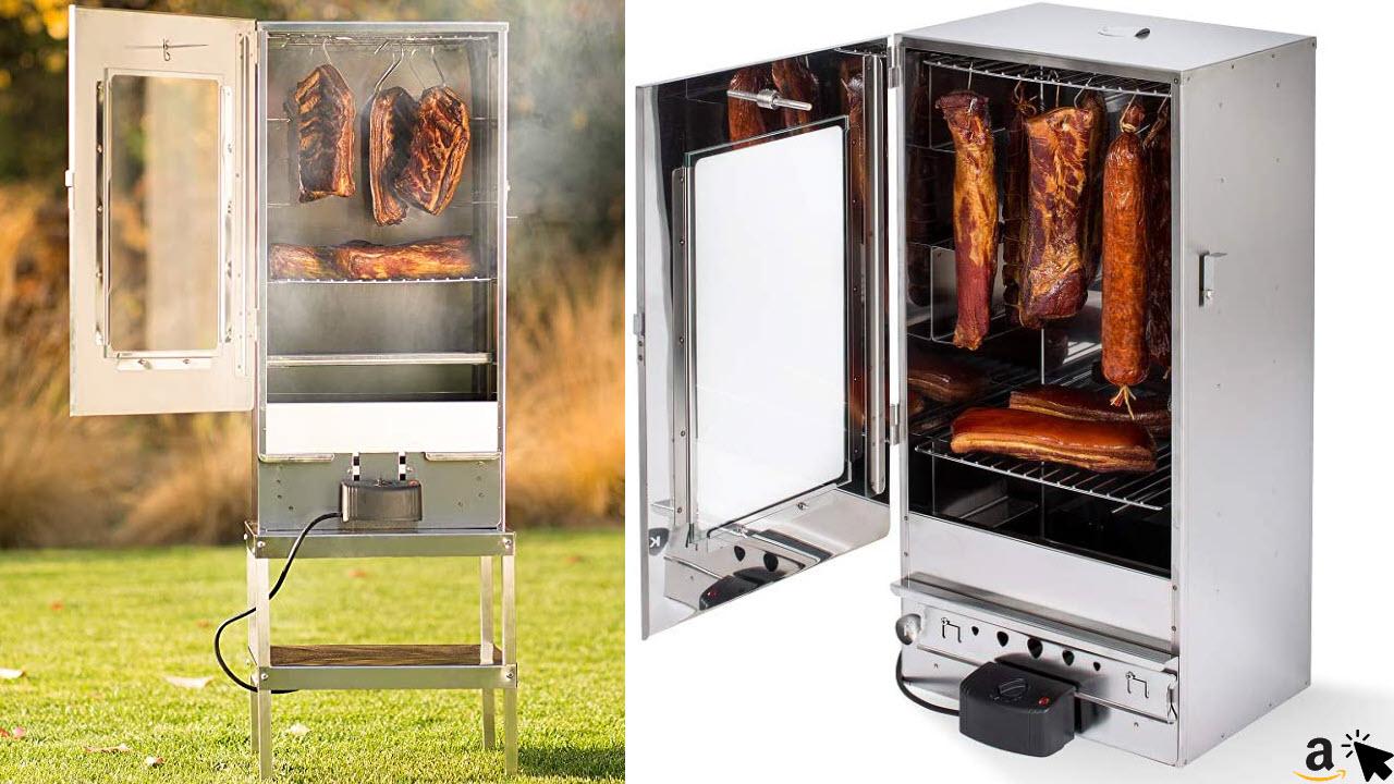 KAISER COMPANY Elektrischer Räucherofen 2000W, Räucherschrank aus Edelstahl, Tragbarer Smoker 80 cm, Perfekt zum Räuchern, bis zu 10kg Fleisch