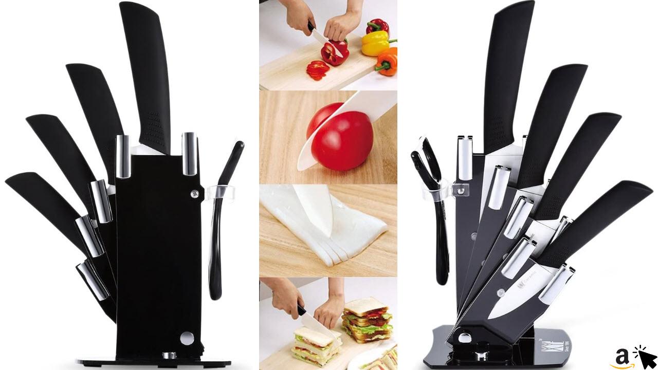 Keramik Messer Set, 6 KüchenMesser Set mit Messerblock und Keramik-Schäler