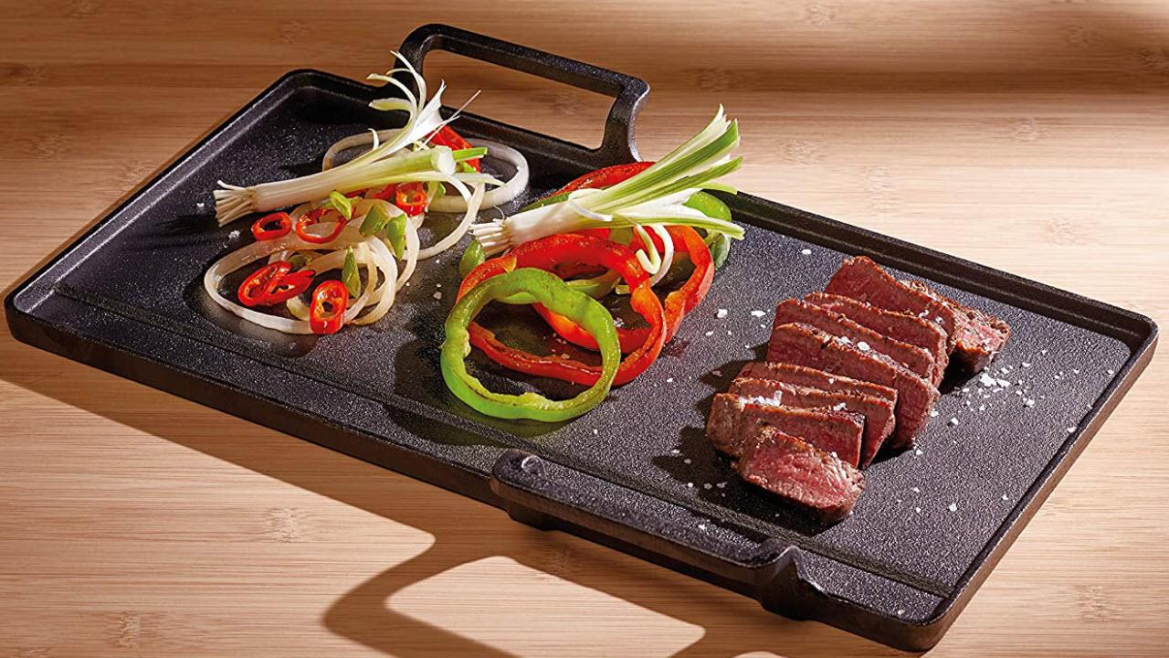 KitchenCraft Japanische Gusseisen Teppanyaki-Grillplatte für Herd oder Grill