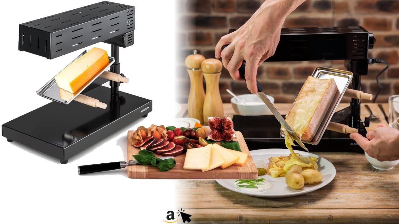 Klarstein Appenzell 2G Schweizer Raclette Grill - Käse-Raclette, Tischgrill, Standgerät, traditionelles Käseschmelzen, 600 Watt