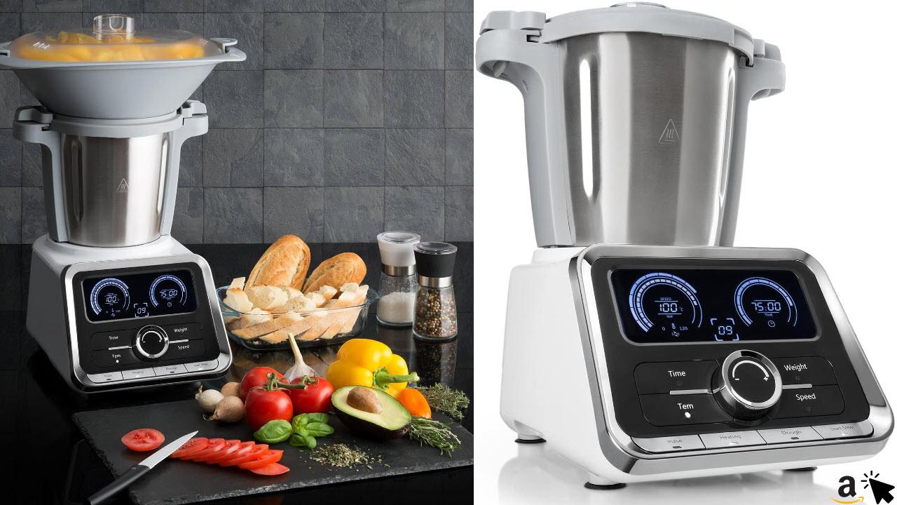 Klarstein GrandPrix - Multifunktions-Küchenmaschine, Rührmaschine, Küchenmaschine mit Kochfunktion, 500-1000 W, 2,5L Edelstahlschüssel, 30-120°C einstellbar, 12 Geschwindigkeiten