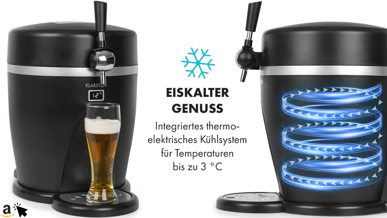Klarstein Tap2Go mobile 2-in-1 Bierzapfanlage mit Getränkekühler, für 5l Fässer, 13l Kühlschrank, Zuhause und im Auto verwendbar, Kühltemperatur bis zu 3°C