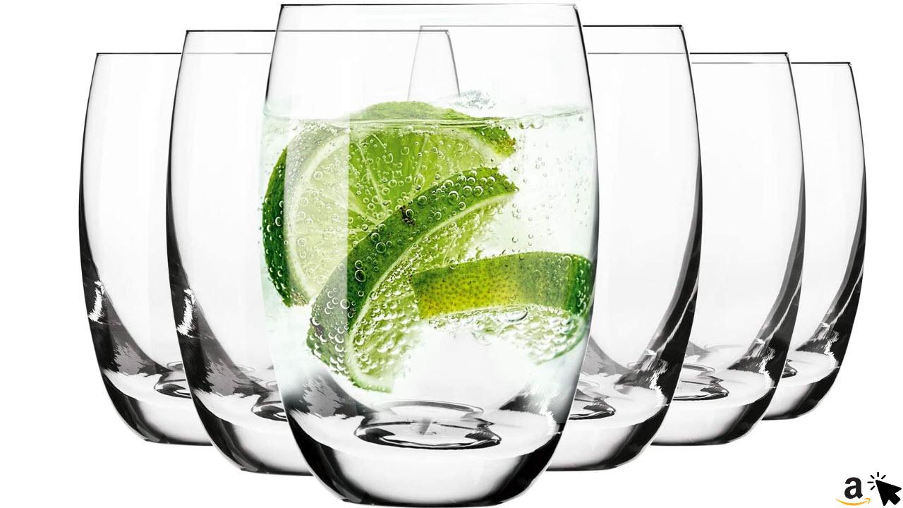 Krosno Wassergläser Saftgläser Trinkgläser, 6 Gläser Set, 360 ml, Spülmaschinenfest, Mikrowellengeeignet