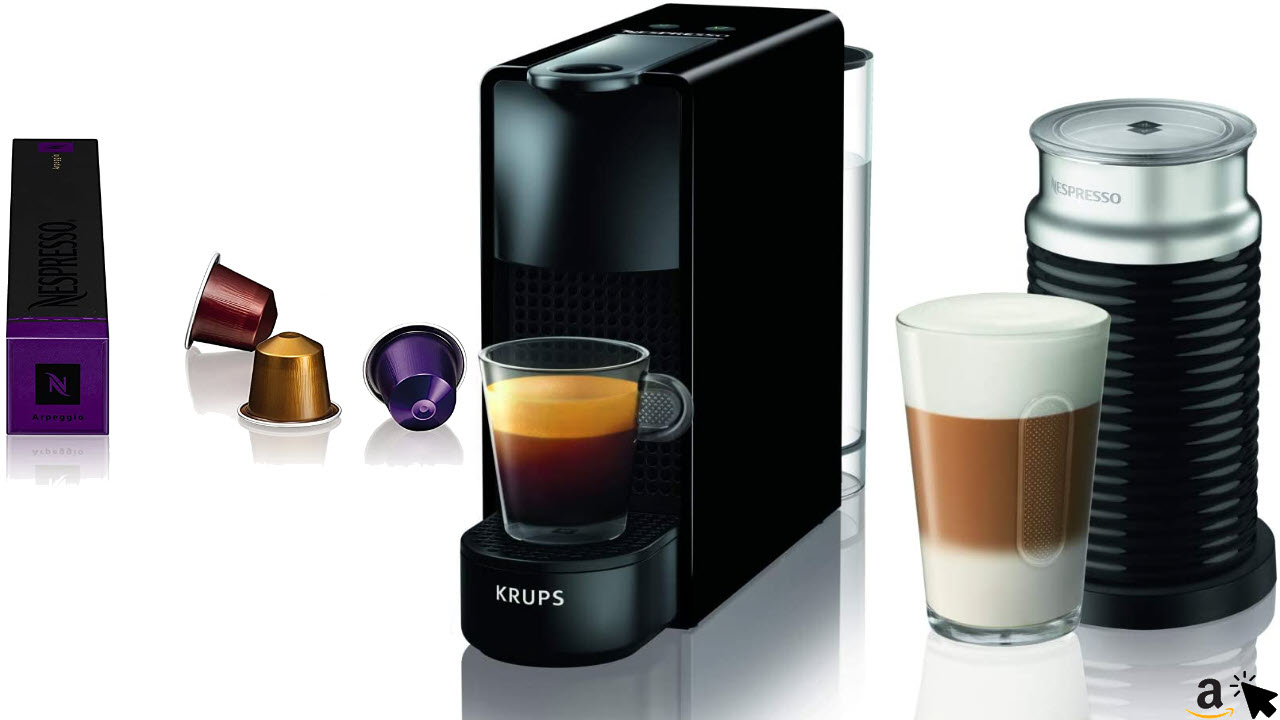 Krups Nespresso Essenza Mini XN1118 Kaffeekapselmaschine 1310 Watt, 0,7 Liter, 19 bar, inklusive Aeroccino Milchaufschäumer